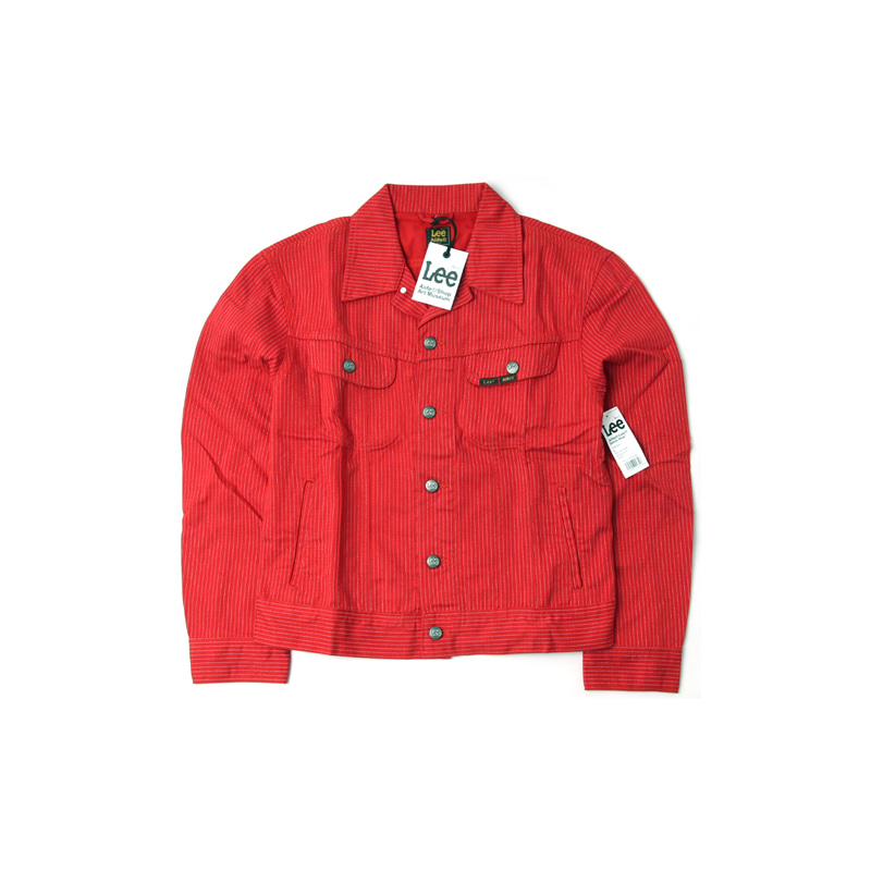ALIFE X LEE PINSTRIPE TRUCKER JACKET (RED)
