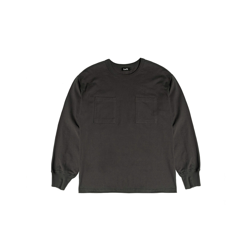 HEAVY COTTON TWO POCKET L/S TEE (CHARCOAL)