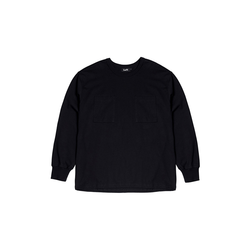 HEAVY COTTON TWO POCKET L/S TEE (BLACK)